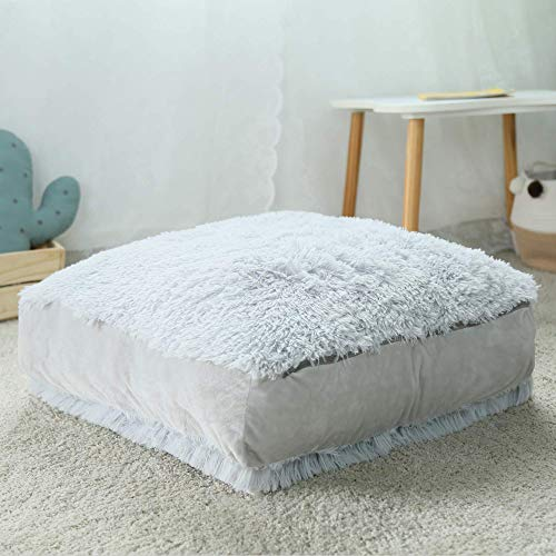 Square Floor Pillow Cushion Seating Large Floor Seat Cushion Soft Fluffy Plush Meditation Pillow for...