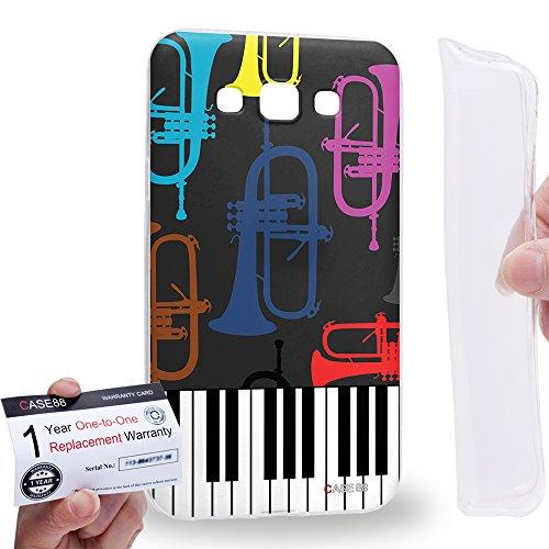 Case88 [Samsung Galaxy E7] Gel TPU Hülle / Schutzhülle & Garantiekarte - musical instrument design trumpet piano DSE0309