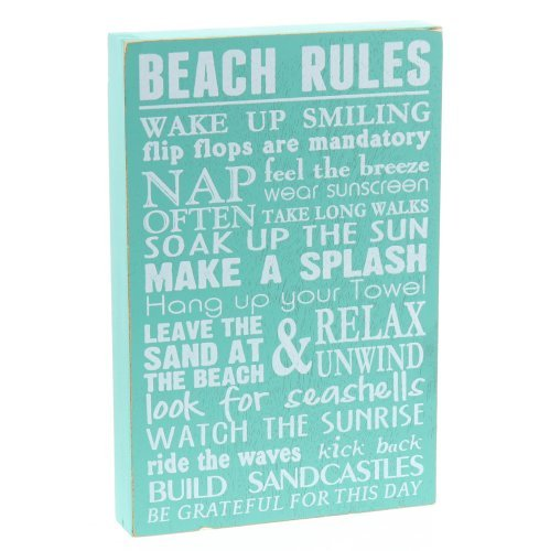 "Beach Rules Wooden Box Wall Sign Beach House Decor Sign 12"" x 8"" By Barnyard Designs"