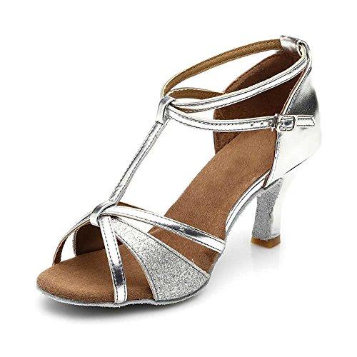 HIPPOSEUS Zapatos de Baile Latino con Brillo para Mujer Sandalias de Baile de Salsa para Fiestas de salón de Baile, Modelo 01