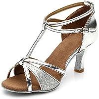 HIPPOSEUS Zapatos de Baile Latino para Mujeres Salsa Performance Dancing Shoes con Glitter Leather Modelo 255,Plateado Color,EU 38
