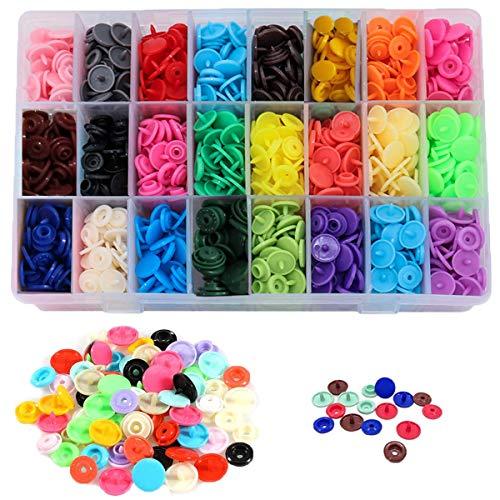 Botones de Presion de Plastico T5 Botones Redondos Snaps Resin Botones Plástico Botón de Presión de Resina DIY 24 Colores 12mm de botones 360 Sets (Sin Alicates de Presión)