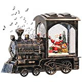 GenSwin Music Lighted Train Snow Globe Lantern Water Snowing Glittering Battery Operated with Timer, Christmas Santa Claus Musical Lighted Home Decoration and Gift(Copper)