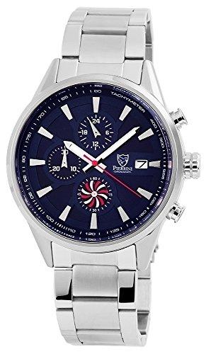 Pierrini Herren - Uhr Edelstahl Armbanduhr Datumsanzeige Analoganzeige Quarz 291023000006