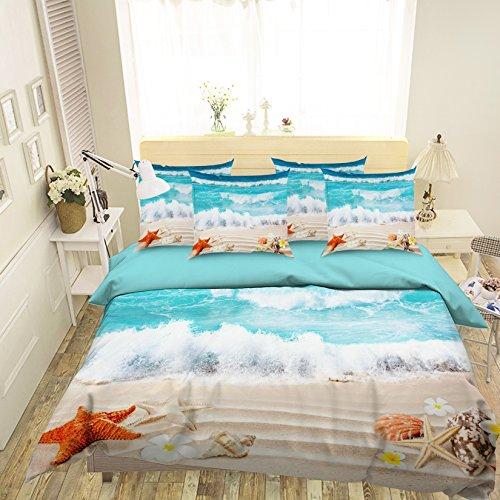 Parure de lit avec housse de couette et taies d'oreiller 3D Motif étoiles de mer Bleu