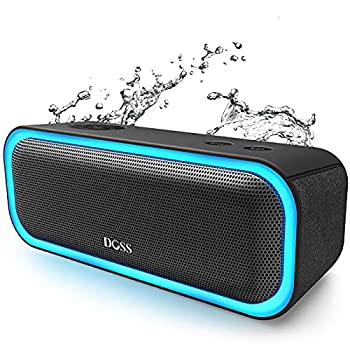 Bluetooth Speakers DOSS SoundBox Pro Portable Wireless Bluetooth Speaker with 20W Stereo Sound Active Extra Bass IPX5 Waterproof Wireless Stereo Pairing Multi-Colors Lights 20Hrs Playtime -Black