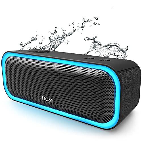 Bluetooth Lautsprecher,DOSS SoundBox Pro 20W, Drahtloses Stereo-Pairing Lautsprecherbox mit Dual-Treiber Besserem Bass Stereo Pairing Vielfarbige LED-Lichter 12 St Spieldauer【Schwarz】