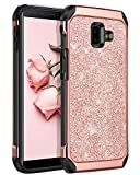BENTOBEN Coque Samsung J4 Plus, Coque Galaxy J6 Plus, Etui Housse de Protection Antichoc Brillante Pailletté Résistante 2 en 1 Hybride PC + TPU Souple pour Samsung Galaxy J4 Plus /J6 Plus,Or Rose