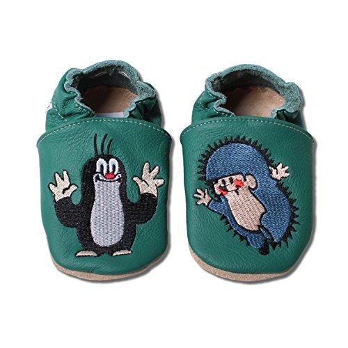 HOBEA-Germany Krabbelschuhe Babyschuhe Der kleine Maulwurf Pauli in verschiedenen Designs, Jungen und Mädchen, Schuhgröße:18/19 (6-12 Monate), Maulwurf:Igel in grün