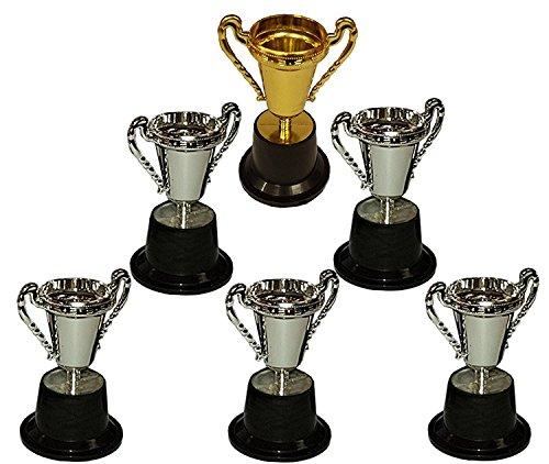 KSS 6 X Pokal auf Sockel groß ca. 12 cm 1 X Gold und 5 X Silber 1 - 6 Platz für Kindergeburtstag, Mitgebsel, Mitbringsel, Tombola, Verlosung, kleine Preise