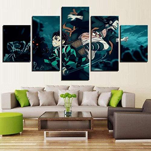 Gmoope Wandbild Leinwand Schwertkämpfer Anime Boy Picture Demon Slayer 5 Teilig Bilder Wohnzimmer Wohnung Deko 5 Stück Kunstdruck Modern Wandbilder XXL Format Wanddekoration Design Wand Bild