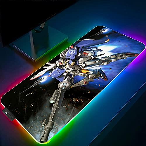 Gundam Anime Gaming RGB Large Tappetini per il Mouse Computer Retroilluminazione A LED XXL Tastiera Tappetino da Scrivania 35,43 Pollici X 15,74 Pollici X 0,16 Pollici