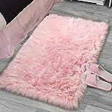 YJ.GWL Super Soft Faux Sheepskin Fur Area Rugs for Bedroom Floor Shaggy Plush Carpet Faux Fur Rug Bedside Rugs, 2 x 3 Feet Rectangle Pink
