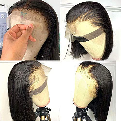 QUINLUX HD Transparent Lace Short Bob Human Hair Wigs Pre Plucked 13X6 Lace Front Wig 150% Density Brazilian Remy Hair Bob Cut Human Hair wig for Woman Natural Color (12 Inch, 13X6 1ace frontal wig)