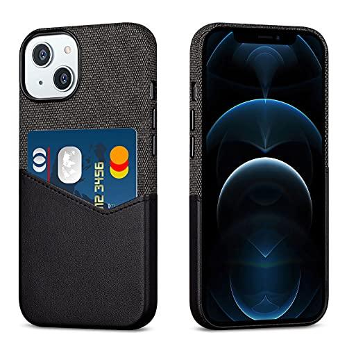 Haobobro Funda compatible con iPhone 13 Mini -  Revestimiento de piel sintética con soporte para tarjetas -  Contiene una tarjeta -  Negro Funda de tela para 5, 4 pulgadas New iPhone 13 Mini