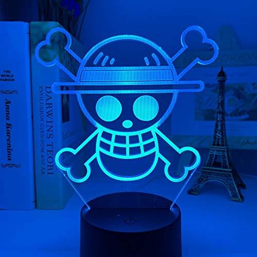 Luz nocturna 3D Madchen Anime One Piece Logo Niños Luz nocturna LED Colorida para Niño Dormitorio Decoración Cool Escritorio 3D Lámpara Regalo 16 Colores MDJK