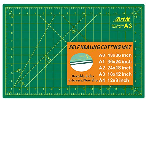 ArtAt Self Healing Cutting Mat: 12″x 18″ Green Double Sided Non-Slip 5 Layers PVC Durable Craft Sewing A3 Mat for Rotary Cutter, Use for Quilting and Scrapbooking and Craft & Art Projects
