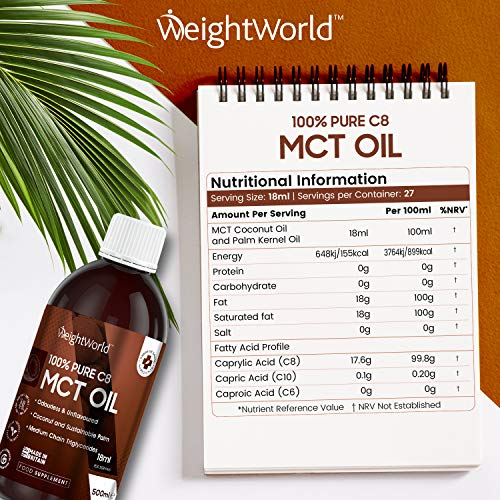 100% Pure C8 MCT Oil - 500ml - Keto Food Supplement Oil from Coconut Oil & Palm Kernel Oil, Vegan Friendly Essential Fatty Acid Oil Liquid Formula, Perfect for Keto Coffee & Cooking