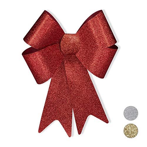 Relaxdays XL Riesenschleife, Dekoschleife für große Geschenke, Glitzer Dekoration, als Hochzeitsdeko o. Autoschleife, Rot, 54 x 38 x 7,5 cm