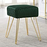 Comfortland Army Green Velvet Vanity Stool Chair - Soft Compact Padded Ottoman Seat, Decorative Foot Stool, Upholstered Furniture Foot Rest for Living Room, Bedroom, Kids Room and Dressing Room