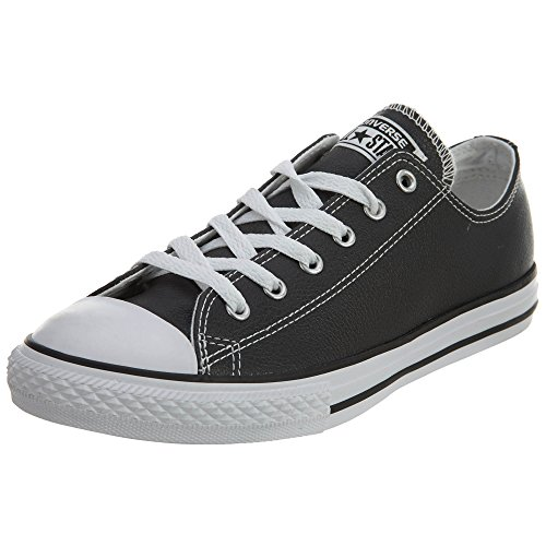 CONVERSE Kid's Chuck Taylor All Star Leather OX Fashion Sneaker Shoe - Black/White - 12.5