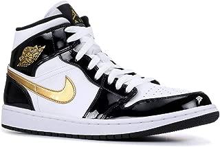 Nike Mens Jordan 1 Mid Black Gold Patent Leather (12 M US)