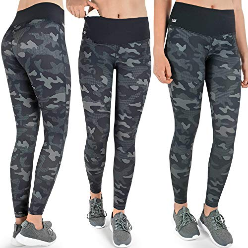 Formbelt Damen Laufhose mit Tasche lang - Leggins Stretch-Hose Hüfttasche für Smartphone iPhone Handy Schlüssel (Camouflage Dark M)