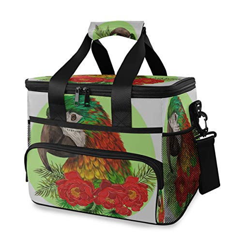 LINPM Bolsa Nevera, Cabeza de Loro Guacamayo, Flores Rojas, Palma, 15 l, Bolsa de Almuerzo Grande con Aislamiento