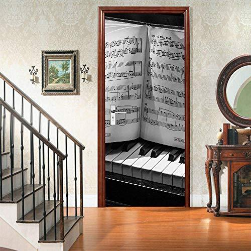 JBMTH 3D-Wandbild Selbstklebend Kreative Piano-Noten Türposter Türfolie Poster Tapete Home Mädchen Schlafzimmer Entfernbare Tapete Kinderzimmer Wohnzimmerbüro-Stangentür-Kunstdekoration77x200CM
