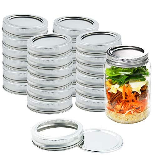 Kinghouse Mason Jar Canning Lids Regular Mouth Lids Split-Type Reusable for Jam Honey Wedding Favors Baby Foods 24 Sets per Box Silver