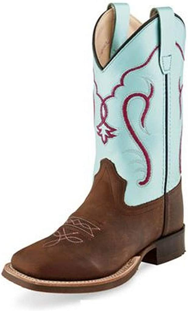 Old West Cowboy Boots Boys Pull On Leather Blue Brown BSC1909