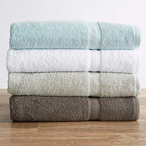 100% Cotton Washcloth Set (13 x 13 inches) Oversized, Lightweight Absorbent Washcloths. Gracie Collection (Set of 12, Light Grey)