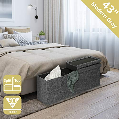 Seville Classics 43' Foldable Tufted Lift Top Storage Bench Ottoman Footrest Coffee Table Trunk, Single, Charcoal Gray