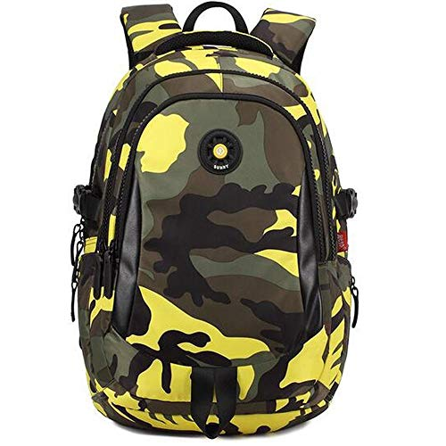 HYX Schulrucksack for Jungen Mädchen  Robuste Canvas-Material-Büchertasche for die Grundschule der Mittel- und Oberstufe (Color : Yellow, Size : L)