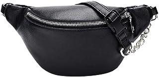Geagodelia Bauchtasche Gürteltasche für Damen Mädchen Stylische PU Hüfttasche mit Verstellbarer Gurt für Reise Wandern Outdoor Festival FB17177 Schwarz