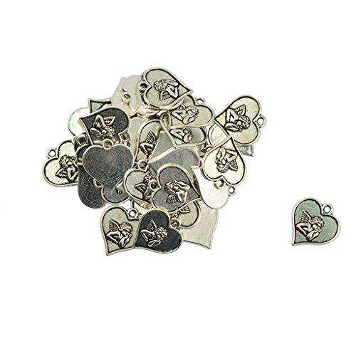 F Fityle 50pcs Corazón de Plata Tibetano Cupido Encanto Joyería DIY Encantos Colgante Colgante - Corazón y Cupido 19 x 18 mm (50 Piezas)