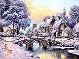 Pintura de diamante de invierno punto de cruz paisaje bordado de diamantes de imitación de nieve mosaico diseño completo decoración del hogar arte A4 30 x 40 cm