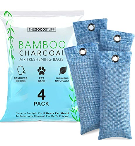 Charcoal Bags for Absorbing Odor: Four Charcoal Deodorizer Bags for Shoe Odor, Fridge Smells, Car Freshening, and Closet Deodorizers