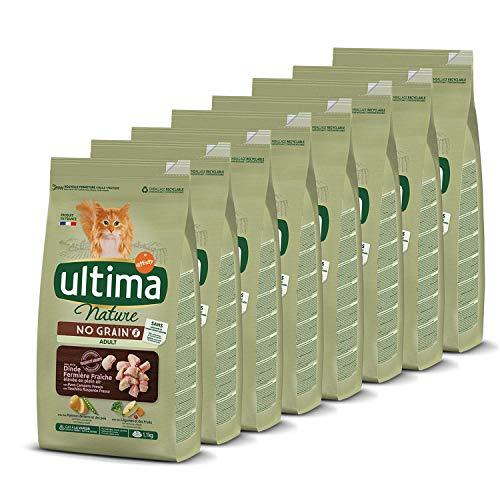 Ultima Nature No Grain Pienso para Gatos sin Cereales con Pavo, Pack de 8 x 1.1kg - Total: 8.8kg