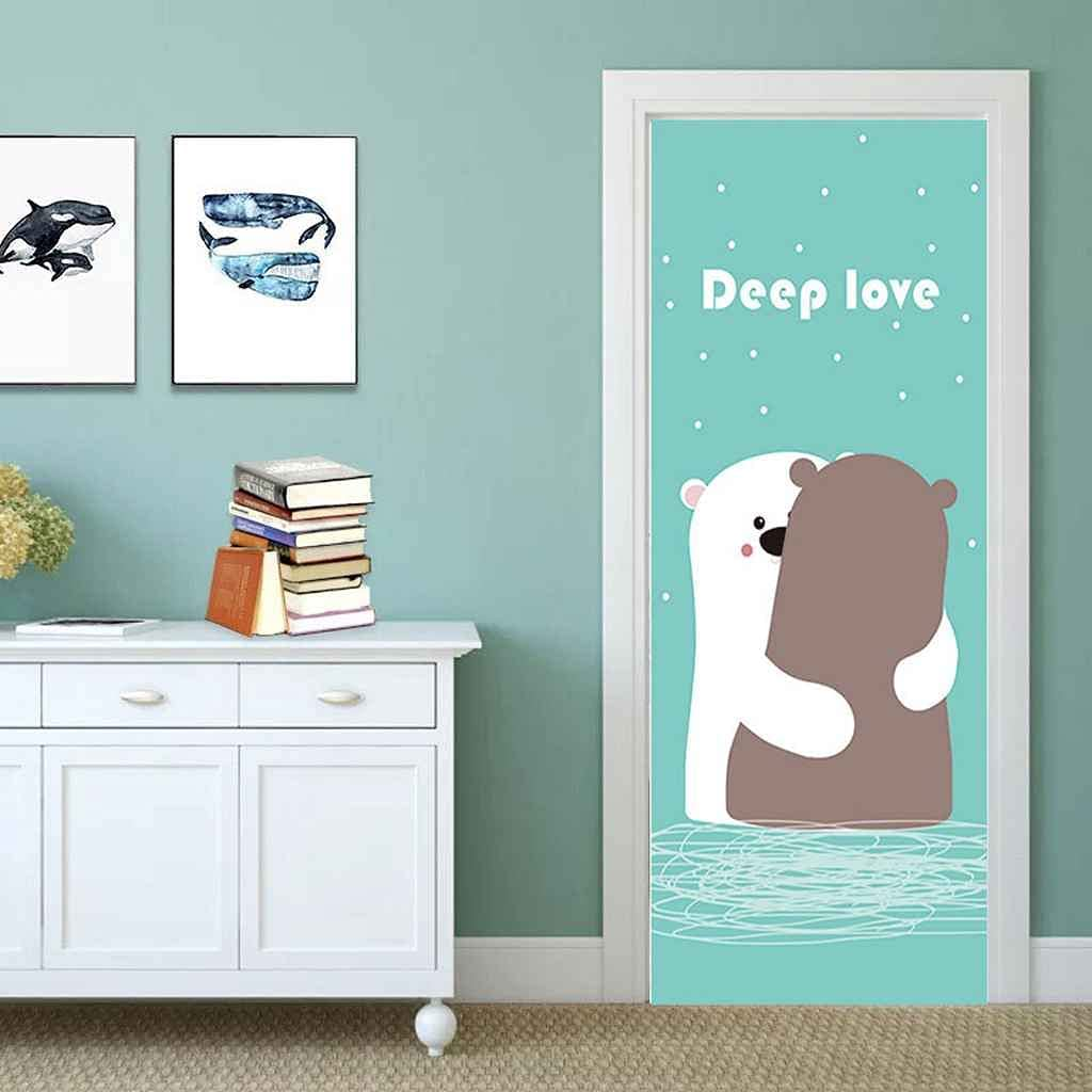 BARFPY 3D New products world's highest quality Many popular brands popular Door Sticker Wall Decals Animal Cartoon Mural Bear Wat