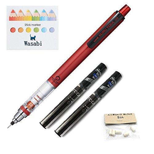 Uni Kurutoga Mechanical Pencil Standard, 0.5mm, Red & Kuru Toga Pencil Lead - 0.5mm � HB, 20 Leads X 2-pack/Total 40 leads & Spare Erasers & �Wasabi� Sticky Note (Red Barrel)