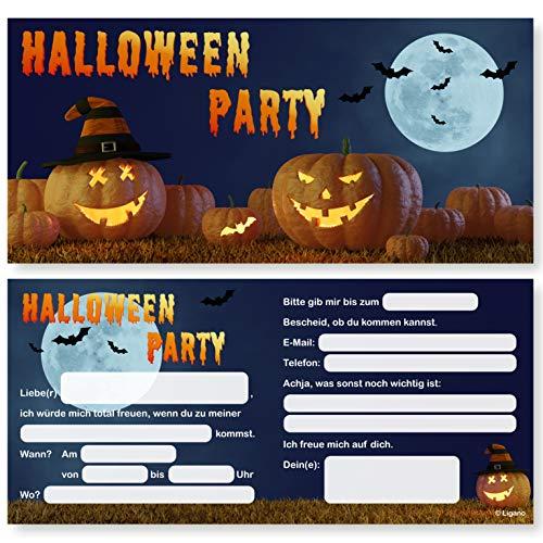 Ligano Halloween Einladungskarten - Einladungen zur Halloween Party - 12 Stück