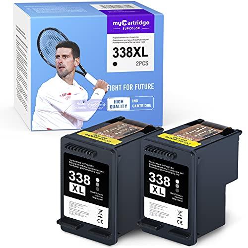 Cartucho de Repuesto MyCartridge SUPCOLOR para HP338 338XL HP Photosmart C3180 2710 7850 8150 PSC 1610 OfficeJet 100150 6210 7310 DeskJet 460c 5740 (Negro * 2)