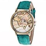 Relojes Hermosos, Hombre Mujer Reloj de Moda Chino Cuarzo Reloj Casual Piel Banda Vintage Mapa del Mundo Negro Blanco Azul Rojo Marrón Verde Gris Rosa ( Color : Rosa )