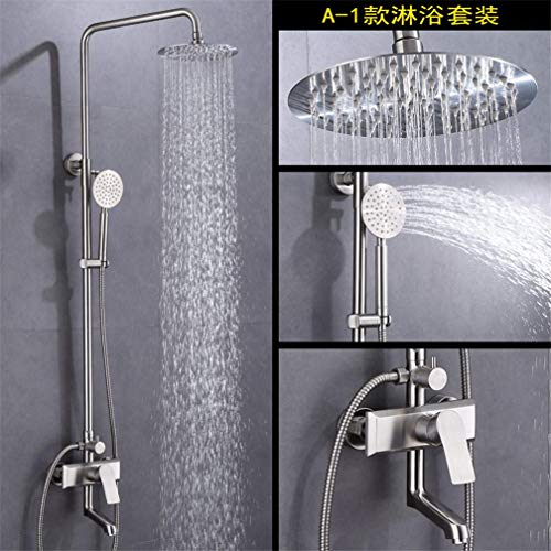 LXYZ Badezimmerdusche, Wandduschset aus Edelstahl 304 Große Hebestange Druck-Duscharmatur Dusche Duschgarnitur an der Wand, A.