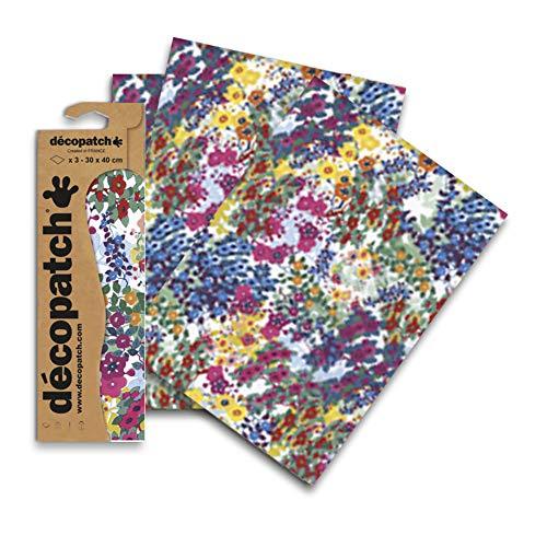 Décopatch meerkleurig bladerenpapier, 30x40 cm (Pak van 3 vellen)