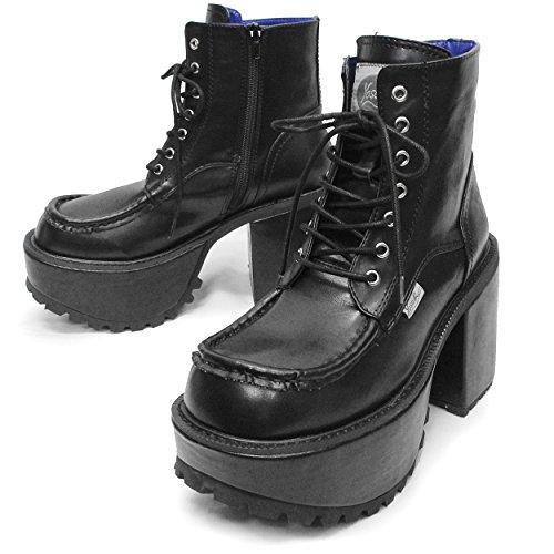 [ヨースケ] 【Deorart ディオラート】 ショート丈 編み上げ 厚底ブーツ BY4001BK (25.0, ブラック)