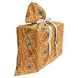 ABAKUHAUS Tan et Brown Sac Cadeau pour Fête Prénatale, Jardin Ottoman, Pochette en Tissu Réutilisable de Fête avec 3 Rubans, 70 x 80 cm, Orange Tan Brown