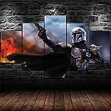 Cuadro En Lienzo Decoracion 5 Piezas Hd Imagen Impresiones En Lienzo Star Wars Baby Yoda Mandaloriano Lienzo Grandes Xxl Murales Pared 5 Paneles De Pinturas De Obras De Arte Moderno