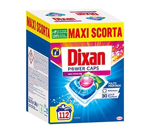 Dixan Powercaps Multicolor, Detersivo Lavatrice Predosato In Capsule, Ideale Per Capi Colorati, 56X2 (112) Lavaggi - 1680 g